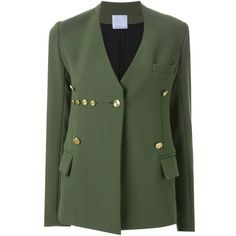 Christopher Esber Elemental General Blazer ($784) ❤ liked on Polyvore featuring outerwear, jackets, blazers, green, blazer jacket, tailored jacket, military style blazer, military style jacket and green military jacket
