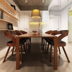 6 X Lederstühle Leder Stuhl Stühle Sessel Esszimmerstühle Sperrholz Braun  #S; EEK A+