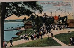 "Conneaut Lake PA Exposition Park Circa 1908 ""Out for a Good Time"" along Lakeshore St."