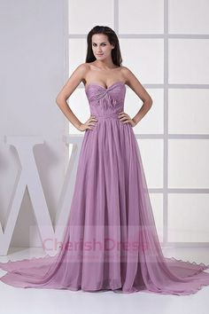 Panel Train Lavender Pleated Backless Chiffon A-line Sweetheart Evening Dress picture 1 Evening Dresses Plus Size, Chiffon Evening Dresses, Formal Evening Dresses, Chiffon Dress, Evening Gowns, Strapless Dress Formal, Lilac Prom Dresses, Prom Dress 2014, Bridesmaid Dress Colors