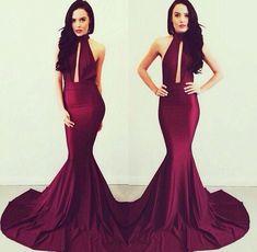 Michael Costello Evening Gowns Elegant Burgundy Women Long High Neck Backless Mermaid Prom Dresses