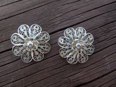 Vintage Silver Earrings. Hand Made, Flower Design, Clip On Type, Excellent Condition Ask a Question    $20.00 USD   Only 1 available