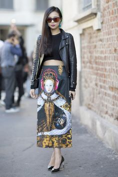 Street Style at MFW S'14. Photo by Anthea Simms / Queen Elizabeth I / Midi skirt / black moto jacket
