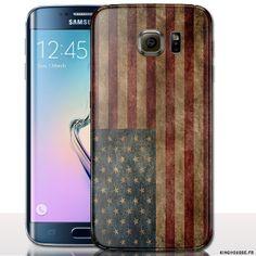 Coque souple samsung galaxy s6 design drapeau USA Vintage - Disponible en version rigide. #Soft #Silicone #S6 #Cover #Samsung #Coque #9,95€