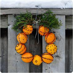 Orange + Cloves + Hanger = Wreath
