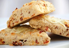 Sundried tomato and bacon (I'll substitute turkey bacon or even hotdogs) scones!