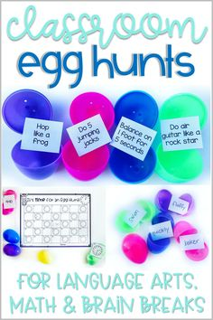 Classroom Egg Hunts for distance learning and in person. Second Grade Common Core standards, ELA and Math. Great for Easter, March, April, spring activities