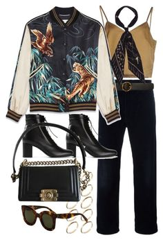 """Untitled #10397"" by nikka-phillips ❤ liked on Polyvore featuring Erika Cavallini Semi-Couture, Golden Goose, STELLA McCARTNEY, Yves Saint Laurent, ASOS, Rockins and Chanel"