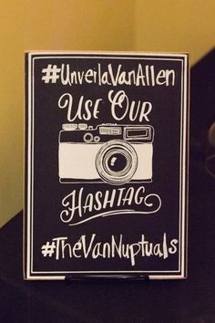 Social media wedding sign idea - black sign with couple's hashtag {James Hancock Photography}