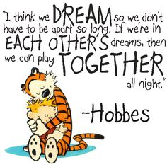 "So cute! Love Calvin and Hobbes  ""I think we dream so we don't have to be apart so long. If we're in each other's dreams, then we can play together all night."""