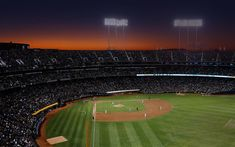 Download wallpapers baseball stadium, USA, competition, evening, grandstands, Major League Baseball, MLB