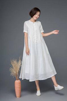 White linen dress maxi dress loose dress summer dress long