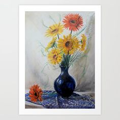 Gerberas in blue vase The original picture is pastel painting Print is made from the scanned version Lovely unique lounges on mothers day, or for another occasion. Painting Prints, Art Prints, Cool Pictures, Pastel, Graphic Design, Lounges, Contemporary, Unique Art, Artist