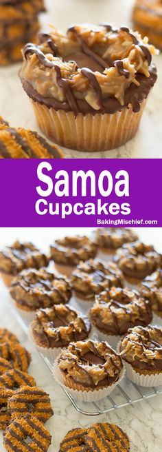 Samoa Cupcakes - Toasted coconut, quick homemade caramel, and chocolate coating over a pound cake cupcake is sure to please lovers of the Girl Scout's most divisive cookie. Recipe includes nutritional information and small-batch instructions. From BakingMischief.com