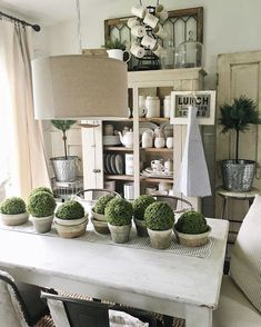 Loving the farmhouse look. The table, the greenery, the light. Perfection!