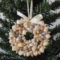 Seashell Christmas Ornament Wreath REAL Shell Tropical Beach Doll House Nautical