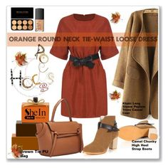 """""""Orange Round Neck Tie-Waist Loose Dress 10."""" by allanaaa11 ❤ liked on Polyvore featuring NARS Cosmetics"""