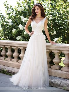 b65e5facd63ab Sleeveless soft tulle and lace A-line gown with gathered illusion straps