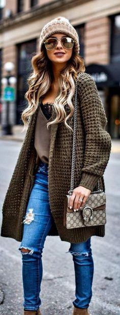 #Winter #Outfits / Heavy Knit Coat + Denim #WomensFashion