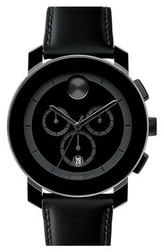 Large Movado BOLD chronograph, mm black composite material and stainless steel case. Features a black dial with black sunray dot, hands and subdials, and date display, military-inspired woven black nylon pass-through strap with white top-stitc Bling Bling, The Bling Ring, Cool Watches, Watches For Men, Stylish Watches, Casual Watches, Esq Watches, Nixon Watches, Unique Watches