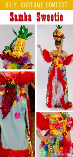 Selene DIY'd her fiery outfit with fab Party City stuff: plastic table covers and tulle for the dress and a headpiece made from a blue paper lantern, Solo cup *pineapple*, leaves from a palm tree centerpiece, lei flowers, beads from a fiesta necklace and some flashy red sheeting. Ole!