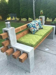Concrete Wood outdoor seat