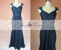 Sexy Long Chiffon Mermaid Navy Blue Bridesmaid Dress by GraceGown