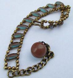 Antique-Art-Nouveau-Iridescent-Saphiret-Glass-Bracelet
