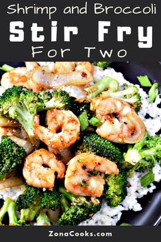 This Shrimp and Broccoli Stir Fry is delicious and quick ready in just 20 minutes. Large succulent shrimp are pan seared and combined with fresh broccoli onion and rice covered in a Thai sweet chili and ginger soy and brown sugar sauce. This small b Stir Fry Recipes, Fish Recipes, Seafood Recipes, Asian Recipes, Dinner Recipes, Cooking Recipes, Healthy Recipes, Oriental Recipes, Cooking Games