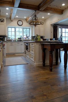 wide plank solid Vintage grade French Oak hardwood floor, custom Gray color, hand scraped, hand beveled (Tuscany) OMG THIS KITCHEN! Hardwood Floor Colors, Oak Hardwood Flooring, Kitchen Flooring, Distressed Hardwood Floors, Home Flooring, Scraped Wood Floors, Travertine Floors, Real Wood Floors, Modern Flooring
