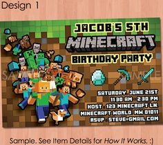 Minecraft Invitation Printable Minecraft by PaperCarousel on Etsy, $7.99