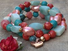 Turquoise coral stretch bracelet Native American turquoise bracelet beaded bracelet natural gemstone gifts for her handmade jewelry gifts