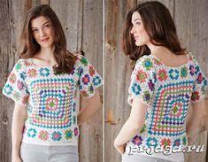 Irish crochet &: GRANNY SQUARE BLOUSE