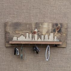 Wooden Entryway Shelf and Key Holder with by WildHouseCreations, $50.00