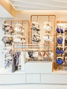New retail platform for French lingerie brand Princesse Tam Tam created by noted Dutch design agency UXUS delivers a new shop concept elevating the brand's customer perception at retail. Boutique Interior, Boutique Deco, Shop Interior Design, Lingerie Store Design, Boutique Lingerie, Lingerie Stores, Online Lingerie, Underwear Store, Retail Store Design