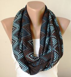 Chevron Scarf Loop Scarf Cowl Scarf Circle Scarf Brown by Periay, $18.50