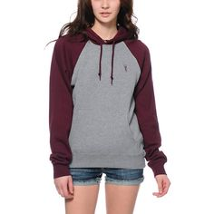 For a basic hoodie with no shortage of style throw on the Highland Grey and Maroon pullover hoodie from Obey Clothing. The Grey body is contrasted by Maroon sleeves and drawstring hood, while the thick construction with soft fleece interior provides you w