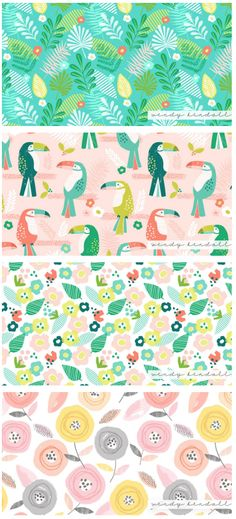 Wendy Kendall is a freelance surface pattern designer and licensed artist based in the UK. We love her quirky illustrative style and playful use of color and are delighted to wrap up the week by featuring her work! https://patternobserver.com/2016/07/29/featured-designer-wendy-kendall/