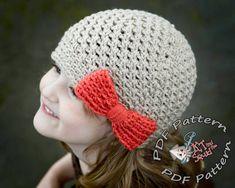 Girls crochet hat pattern. Crochet hat pattern with bow, newborn, baby child toddler adult, instant download, crochet pattern on Etsy, $4.00