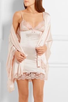 Agent Provocateur | Abbey lace-trimmed stretch-silk satin robe | NET-A-PORTER.COM