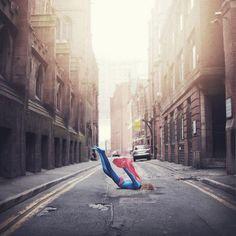 super girl missed the landing.