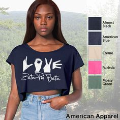 Zeta Phi Beta Cropped Tee with Love Hands $16.95 #Greek #Sorority #Clothing #Love #ZetaPhiBeta #Zeta