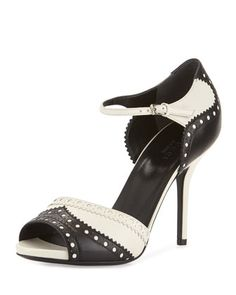 Leather+Brogue+Ankle-Strap+Sandal+by+Gucci+at+Neiman+Marcus.