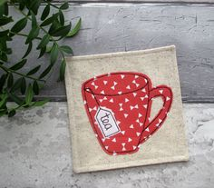 Tea Coaster, Fabric Coaster, Fathers Day Gift Idea, Applique Gift, Drink Coaster, Table Decor, Birthday Gift, Gift For Him, Fabric Gift by TheCornishCoasterCo on Etsy https://www.etsy.com/uk/listing/529296935/tea-coaster-fabric-coaster-fathers-day