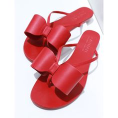 Flip Flop - Red | Aminah Abdul Jillil (220 CAD) ❤ liked on Polyvore featuring shoes, sandals, flip flops, bride sandals, red shoes, red flip flops, bridal shoes and bridal sandals