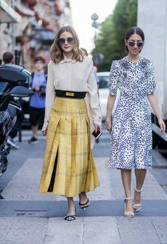 Olivia Palermo wearing a white blouse golden Fendi skirt heels blue sunglasses outside Fendi during Paris Fashion Week Haute Couture Fall/Winter...