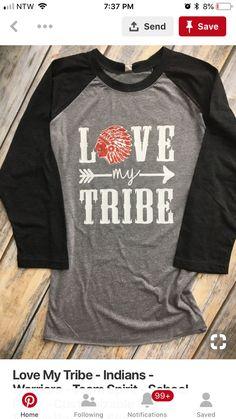 817bd72d5 Love My Tribe - Indians - Warriors - Team Spirit - School Pride -  Customizable Sleeve Baseball Style Unisex Sized Raglan Shirt