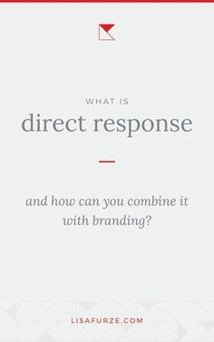 Which should you use in your business — direct response or brand marketing? Find out more about each strategy and how you can apply them to your business. Branding Your Business, Creative Business, Direct Marketing, Business Planning, Blog Tips, Online Business, No Response, Lisa, Group