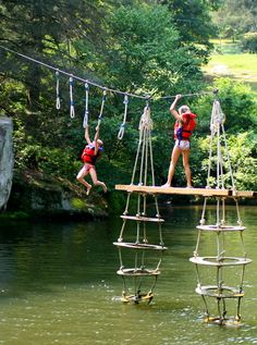 "One popular summer game for kids at camp is ""the toy"" over the Rockbrook Camp lake."