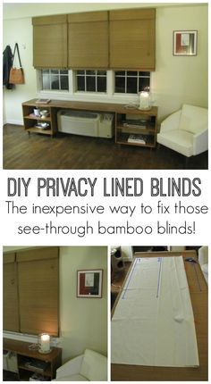 Love the look of bamboo Roman shades, but hate that they're see through? Here's how to add a privacy liner to bamboo blinds so you can get the look for less! Great way to upgrade the windows in your rental home or apartment.